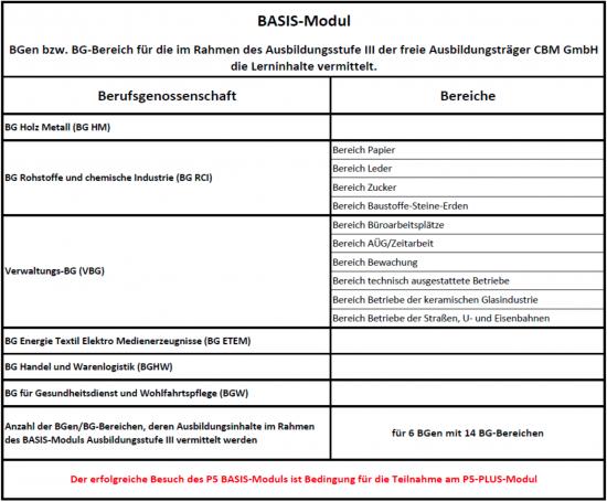 Basis Modul Ausbildung Fachkraft für Arbeitssicherheit CBM GmbH Bexbach